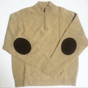 Cutter & Buck Lambswool Sweater Elbow Patch Zip L